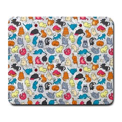 Funny Cute Colorful Cats Pattern Large Mousepads by EDDArt