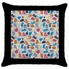 Funny Cute Colorful Cats Pattern Throw Pillow Case (black)