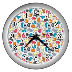 Funny Cute Colorful Cats Pattern Wall Clock (silver) by EDDArt