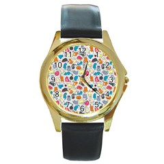Funny Cute Colorful Cats Pattern Round Gold Metal Watch