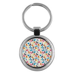Funny Cute Colorful Cats Pattern Key Chains (round)  by EDDArt