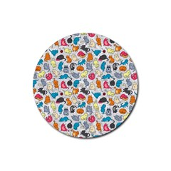Funny Cute Colorful Cats Pattern Rubber Coaster (round)
