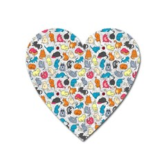 Funny Cute Colorful Cats Pattern Heart Magnet by EDDArt