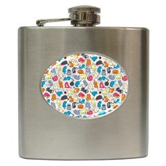 Funny Cute Colorful Cats Pattern Hip Flask (6 Oz) by EDDArt