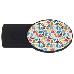 Funny Cute Colorful Cats Pattern Usb Flash Drive Oval (2 Gb) by EDDArt