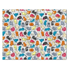 Funny Cute Colorful Cats Pattern Rectangular Jigsaw Puzzl by EDDArt