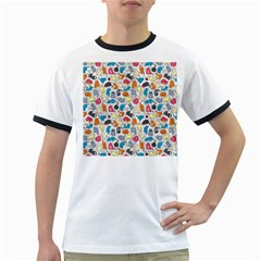 Funny Cute Colorful Cats Pattern Ringer T Shirts