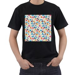 Funny Cute Colorful Cats Pattern Men s T Shirt (black) (two Sided)
