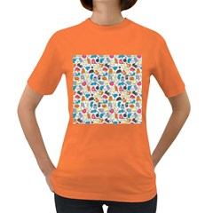 Funny Cute Colorful Cats Pattern Women s Dark T Shirt