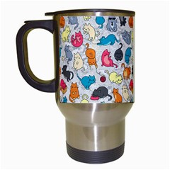 Funny Cute Colorful Cats Pattern Travel Mugs (white) by EDDArt