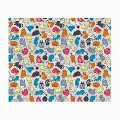 Funny Cute Colorful Cats Pattern Small Glasses Cloth by EDDArt