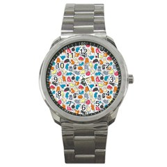Funny Cute Colorful Cats Pattern Sport Metal Watch by EDDArt