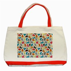 Funny Cute Colorful Cats Pattern Classic Tote Bag (red)