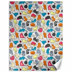 Funny Cute Colorful Cats Pattern Canvas 12  X 16