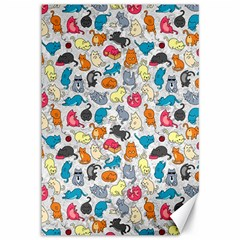 Funny Cute Colorful Cats Pattern Canvas 12  X 18