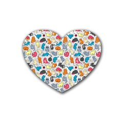 Funny Cute Colorful Cats Pattern Rubber Coaster (heart)