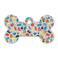 Funny Cute Colorful Cats Pattern Dog Tag Bone (two Sides) by EDDArt