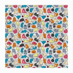 Funny Cute Colorful Cats Pattern Medium Glasses Cloth by EDDArt