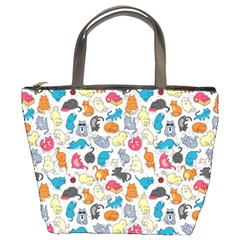 Funny Cute Colorful Cats Pattern Bucket Bags by EDDArt