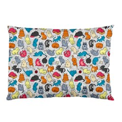 Funny Cute Colorful Cats Pattern Pillow Case by EDDArt