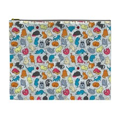 Funny Cute Colorful Cats Pattern Cosmetic Bag (xl) by EDDArt