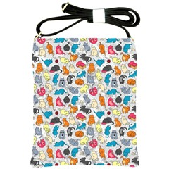 Funny Cute Colorful Cats Pattern Shoulder Sling Bags