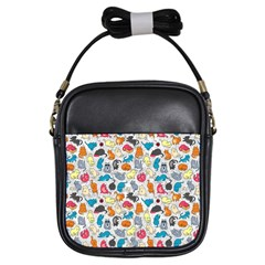 Funny Cute Colorful Cats Pattern Girls Sling Bags