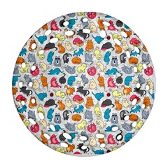 Funny Cute Colorful Cats Pattern Ornament (round Filigree)