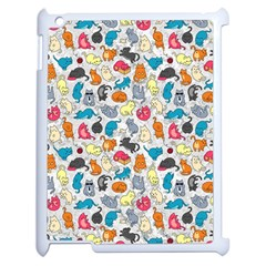Funny Cute Colorful Cats Pattern Apple Ipad 2 Case (white) by EDDArt
