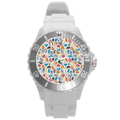 Funny Cute Colorful Cats Pattern Round Plastic Sport Watch (l) by EDDArt
