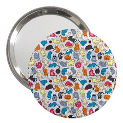 Funny Cute Colorful Cats Pattern 3  Handbag Mirrors by EDDArt