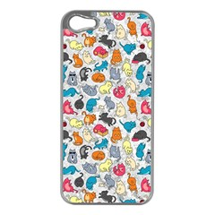 Funny Cute Colorful Cats Pattern Apple Iphone 5 Case (silver) by EDDArt