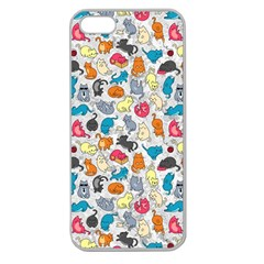 Funny Cute Colorful Cats Pattern Apple Seamless Iphone 5 Case (clear) by EDDArt