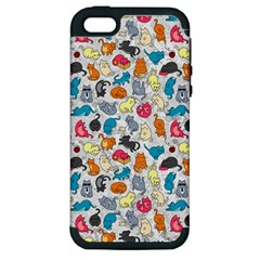 Funny Cute Colorful Cats Pattern Apple Iphone 5 Hardshell Case (pc+silicone) by EDDArt