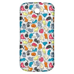 Funny Cute Colorful Cats Pattern Samsung Galaxy S3 S Iii Classic Hardshell Back Case by EDDArt