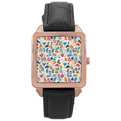 Funny Cute Colorful Cats Pattern Rose Gold Leather Watch  by EDDArt