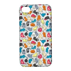 Funny Cute Colorful Cats Pattern Apple Iphone 4/4s Hardshell Case With Stand by EDDArt