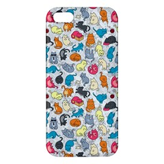 Funny Cute Colorful Cats Pattern Apple Iphone 5 Premium Hardshell Case by EDDArt