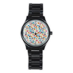 Funny Cute Colorful Cats Pattern Stainless Steel Round Watch
