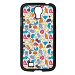 Funny Cute Colorful Cats Pattern Samsung Galaxy S4 I9500/ I9505 Case (Black) Front