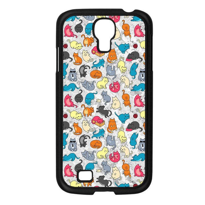 Funny Cute Colorful Cats Pattern Samsung Galaxy S4 I9500/ I9505 Case (Black)