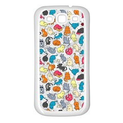 Funny Cute Colorful Cats Pattern Samsung Galaxy S3 Back Case (white) by EDDArt
