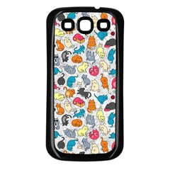 Funny Cute Colorful Cats Pattern Samsung Galaxy S3 Back Case (black) by EDDArt