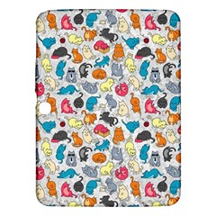 Funny Cute Colorful Cats Pattern Samsung Galaxy Tab 3 (10 1 ) P5200 Hardshell Case  by EDDArt