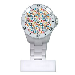 Funny Cute Colorful Cats Pattern Plastic Nurses Watch by EDDArt