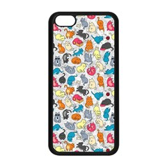 Funny Cute Colorful Cats Pattern Apple Iphone 5c Seamless Case (black)