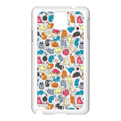 Funny Cute Colorful Cats Pattern Samsung Galaxy Note 3 N9005 Case (white) by EDDArt