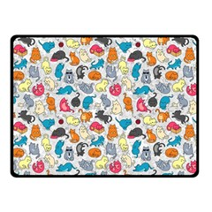 Funny Cute Colorful Cats Pattern Double Sided Fleece Blanket (small)
