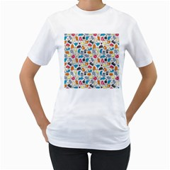 Funny Cute Colorful Cats Pattern Women s T Shirt (white)