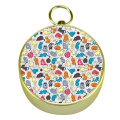 Funny Cute Colorful Cats Pattern Gold Compasses